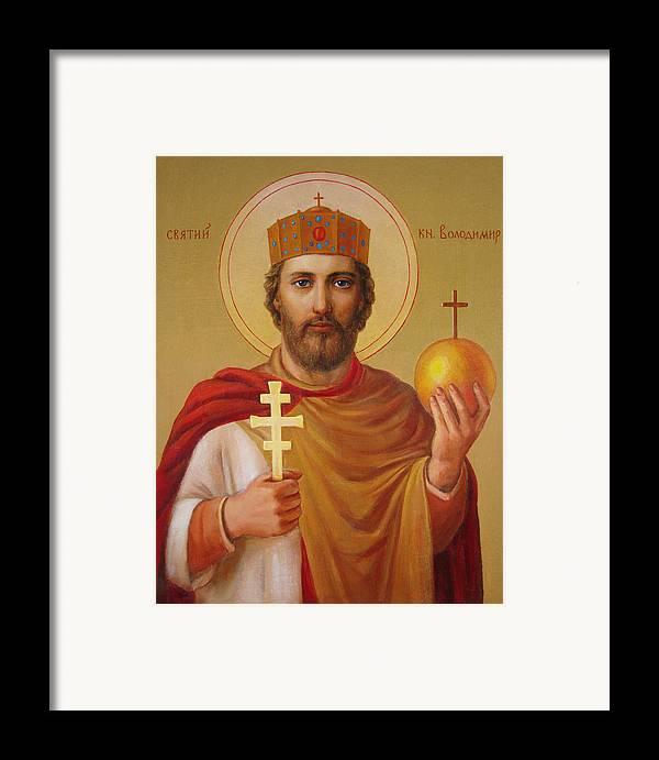 Saint Framed Print featuring the painting Saint Volodymyr by Svitozar Nenyuk