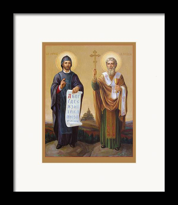 Saints Framed Print featuring the painting Saints Cyril And Methodius - Missionaries To The Slavs by Svitozar Nenyuk