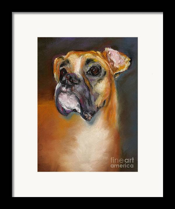 Dogs Framed Print featuring the pastel Sam by Frances Marino