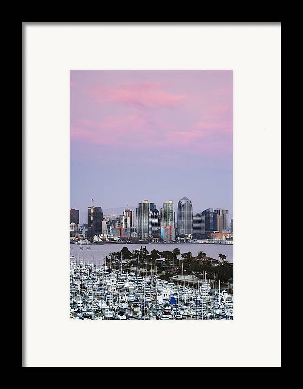 Architecture Framed Print featuring the photograph San Diego Skyline And Marina At Dusk by Jeremy Woodhouse