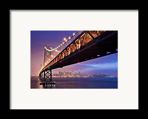 Horizontal Framed Print featuring the photograph San Francisco Bay Bridge by Photo by Mike Shaw