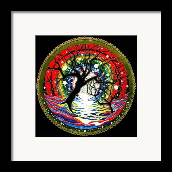 Spiritual Meditative Mandala Framed Print featuring the painting Sea Of Color by Pam Ellis