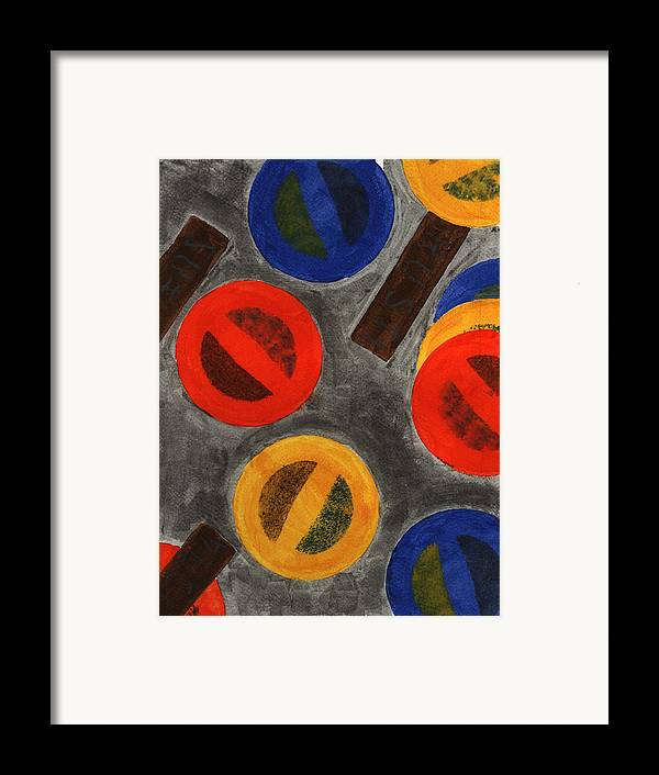 Abstract Painting Framed Print featuring the painting Segments 4 by David Townsend