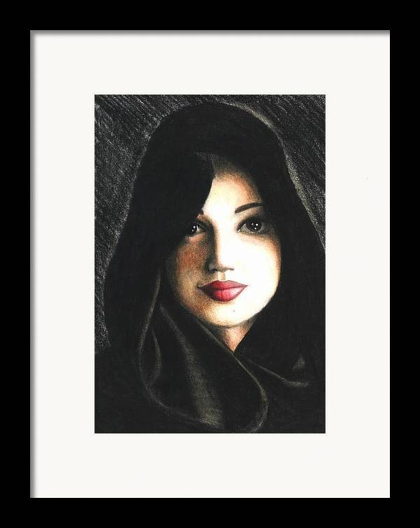 Portrait Framed Print featuring the drawing Self Portrait In Cape by Scarlett Royal