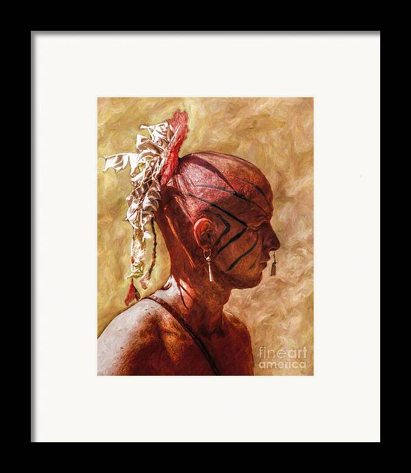 War Framed Print featuring the digital art Shawnee Indian Warrior Portrait by Randy Steele