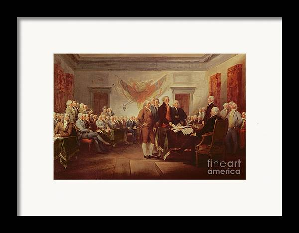 Signing Framed Print featuring the painting Signing The Declaration Of Independence by John Trumbull