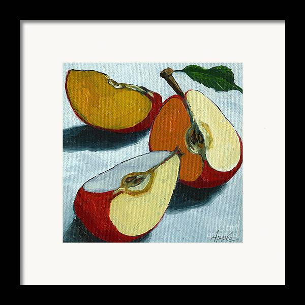 Apple Framed Print featuring the painting Sliced Apple Still Life Oil Painting by Linda Apple