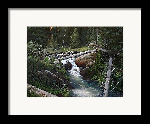 Landscape Framed Print featuring the painting Small Stream In The Lost Wilderness 070810-1612 by Kenneth Shanika