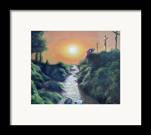 Cross Framed Print featuring the painting Soldier At The Cross by Larry Cole