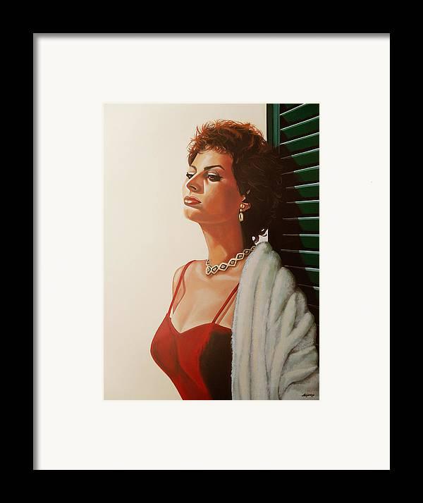 Sophia Loren Framed Print featuring the painting Sophia Loren 2 by Paul Meijering