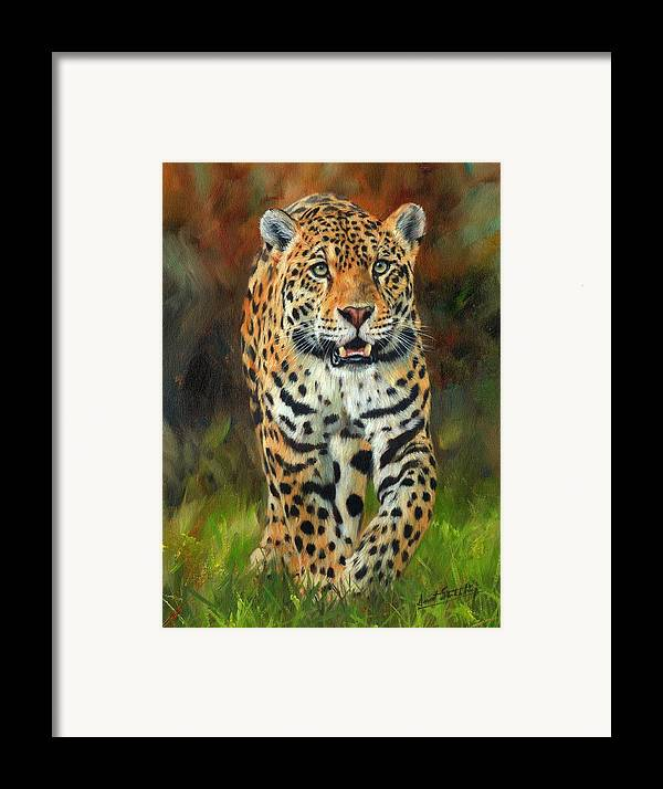 Jaguar Framed Print featuring the painting South American Jaguar by David Stribbling