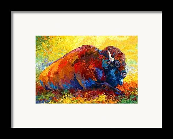 Wildlife Framed Print featuring the painting Spirit Brother - Bison by Marion Rose
