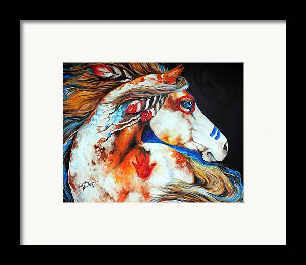 Indian Framed Print featuring the painting Spirit Indian War Horse by Marcia Baldwin