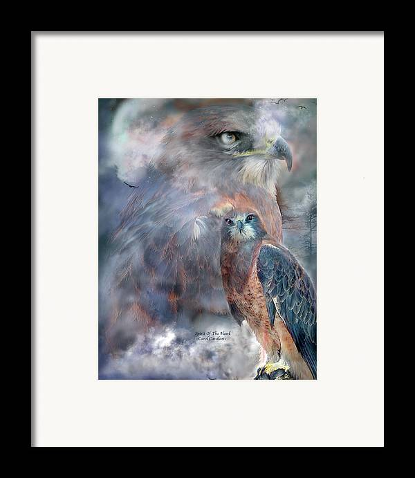 Hawk Framed Print featuring the mixed media Spirit Of The Hawk by Carol Cavalaris
