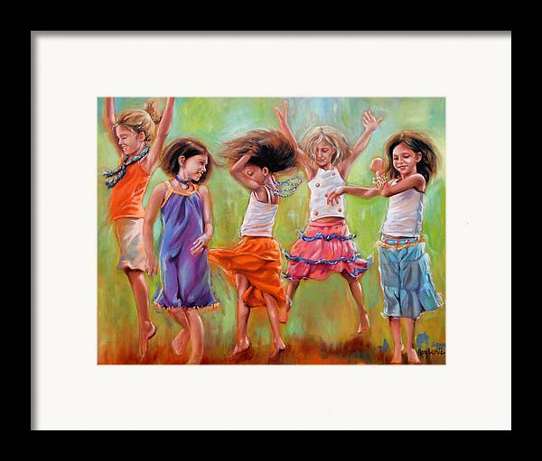 Dancing Girls Framed Print featuring the painting Spring Fever by Mary Leslie
