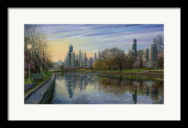 Chicago Skyline Framed Print featuring the painting Spring Serenity by Doug Kreuger