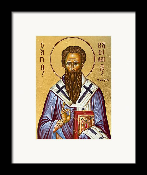 Icon Framed Print featuring the painting St Basil The Great by Julia Bridget Hayes