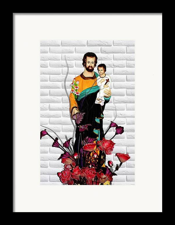 Saint Framed Print featuring the photograph St Joseph Holding Baby Jesus - Catholic Church Qibao China by Christine Till