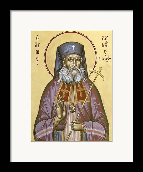 St Luke Of The Surgeon Framed Print featuring the painting St Luke The Surgeon Of Simferopol by Julia Bridget Hayes