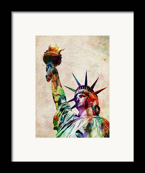 Statue Of Liberty Framed Print featuring the digital art Statue Of Liberty by Michael Tompsett