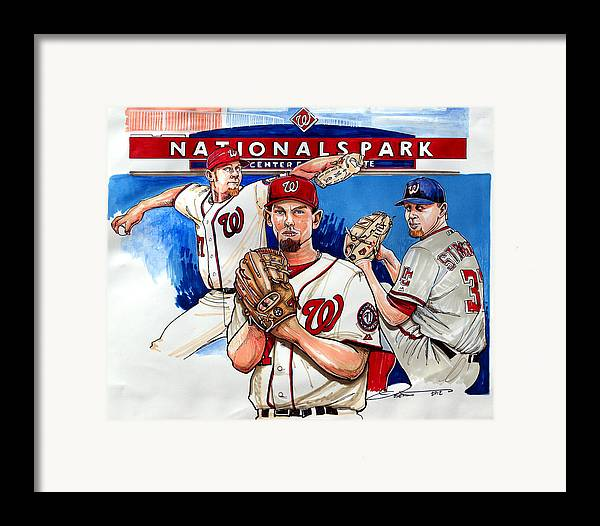 Stephen Strasburg Framed Print featuring the drawing Stephen Strasburg by Dave Olsen