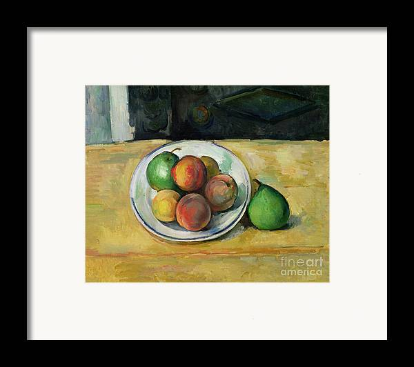 Still Framed Print featuring the painting Still Life With A Peach And Two Green Pears by Paul Cezanne