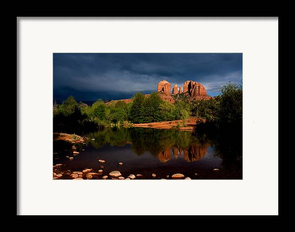 Cathedral Rock Framed Print featuring the photograph Stormy Day At Cathedral Rock by David Sunfellow