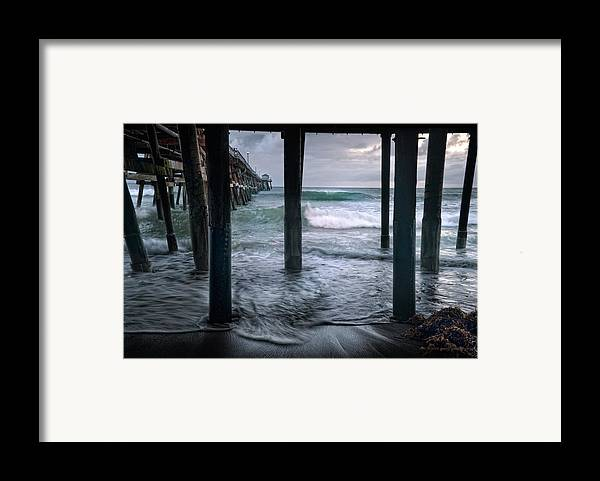San Clemente Framed Print featuring the photograph Stormy Pier by Gary Zuercher