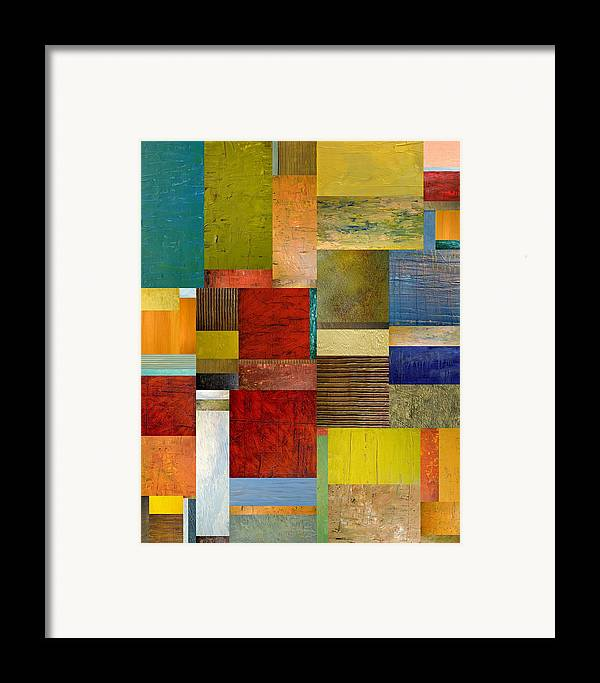 Textural Framed Print featuring the painting Strips And Pieces L by Michelle Calkins