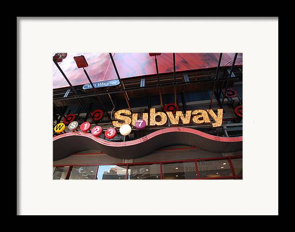 Neon Framed Print featuring the photograph Subway by Rob Hans