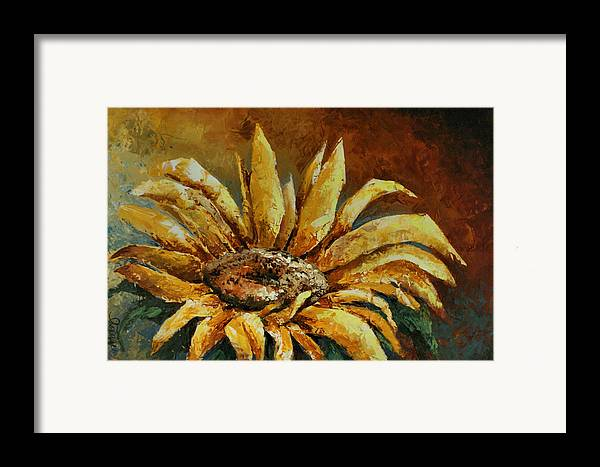 Floral Framed Print featuring the painting Sunflower Study by Michael Lang