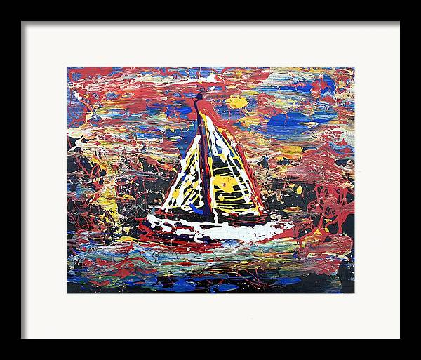 Sailboat Framed Print featuring the painting Sunset On The Lake by J R Seymour