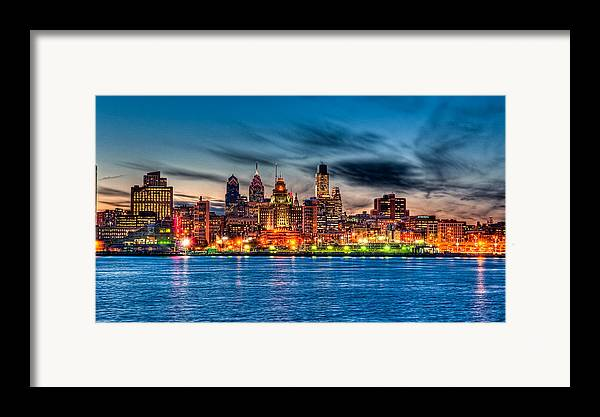 Photography Framed Print featuring the photograph Sunset Over Philadelphia by Louis Dallara