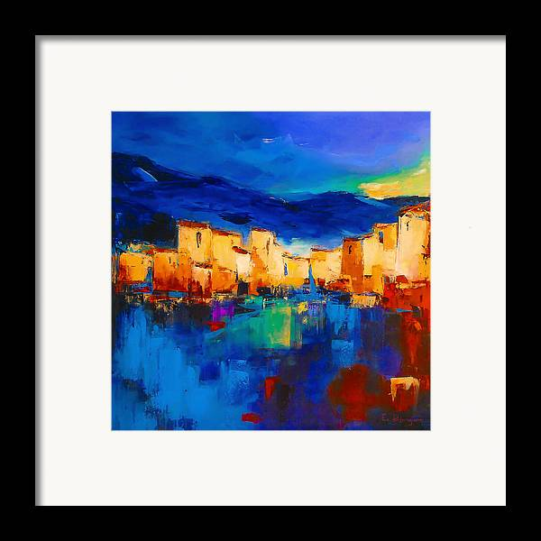 Cinque Terre Framed Print featuring the painting Sunset Over The Village by Elise Palmigiani