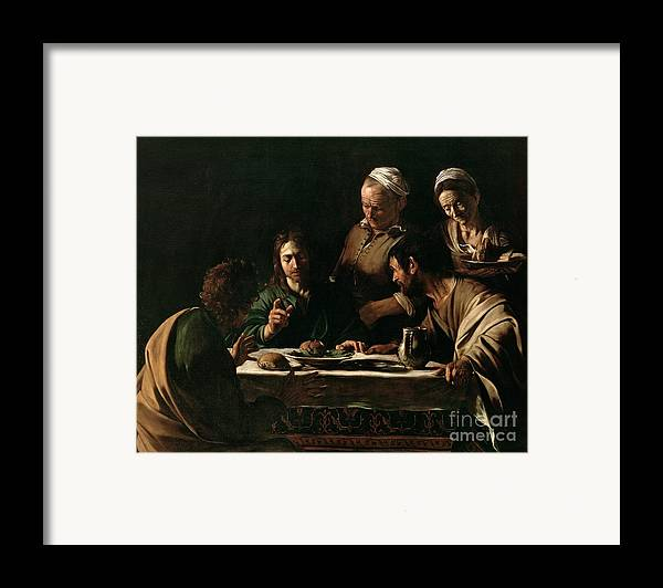 Supper At Emmaus Framed Print featuring the painting Supper At Emmaus by Michelangelo Merisi da Caravaggio