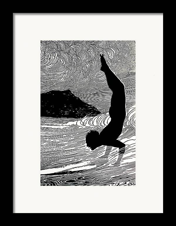 1930 Framed Print featuring the painting Surfer And Waikiki by Hawaiian Legacy Archive - Printscapes