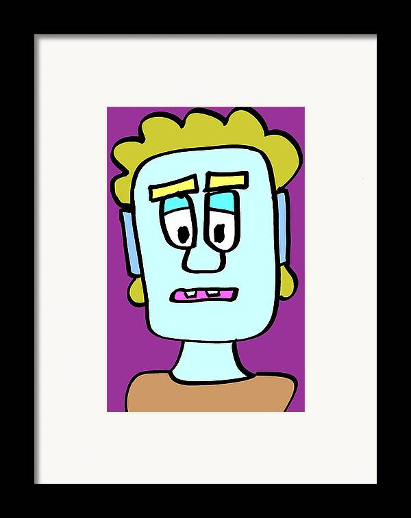 Tag Gapped Teeth Strange Mullet Hair Purple Cartoon Toon Creature Character Portrait Fun Bright Different Unique Blue Interesting Framed Print featuring the drawing Tag by Jera Sky