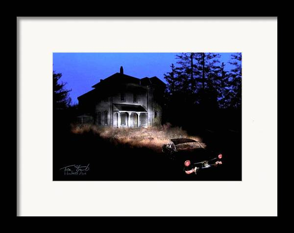 Haunted House Framed Print featuring the digital art Tail Lights by Tom Straub