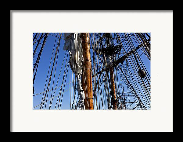 Blue Sky Framed Print featuring the photograph Tall Ship Rigging Lady Washington by Garry Gay