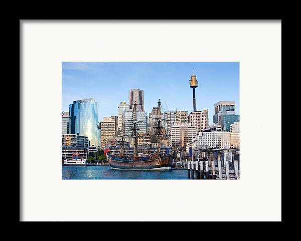 Sydney Framed Print featuring the photograph Tall Ships - Sydney Harbor by Charles Warren