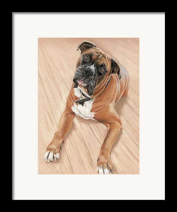 Framed Print featuring the pastel Taz My Best Friend by Vanda Luddy
