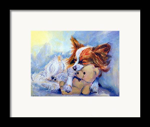 Papillon Dog Framed Print featuring the painting Teddy Hugs - Papillon Dog by Lyn Cook