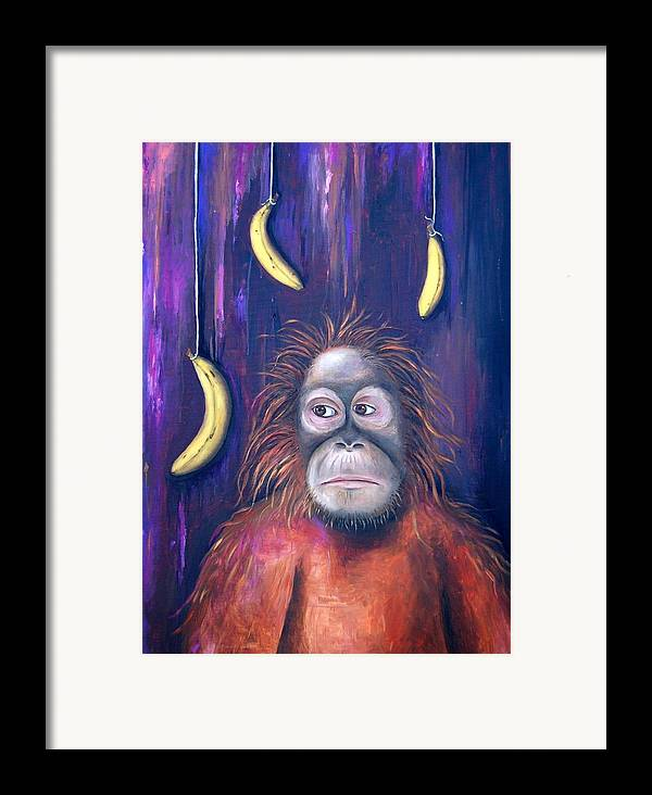 Bananas.ape Framed Print featuring the painting Temptation by Leah Saulnier The Painting Maniac