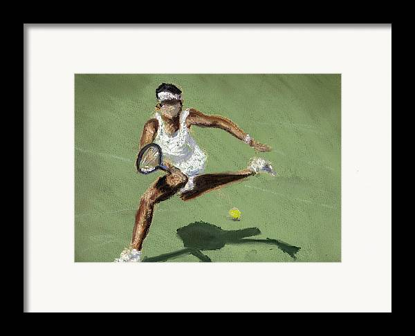 Pastels Framed Print featuring the pastel Tennis In The Sun by Paul Mitchell