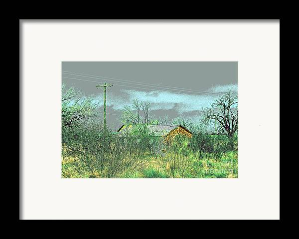 Landscape Framed Print featuring the photograph Texas Farm House - Digital Painting by Merton Allen
