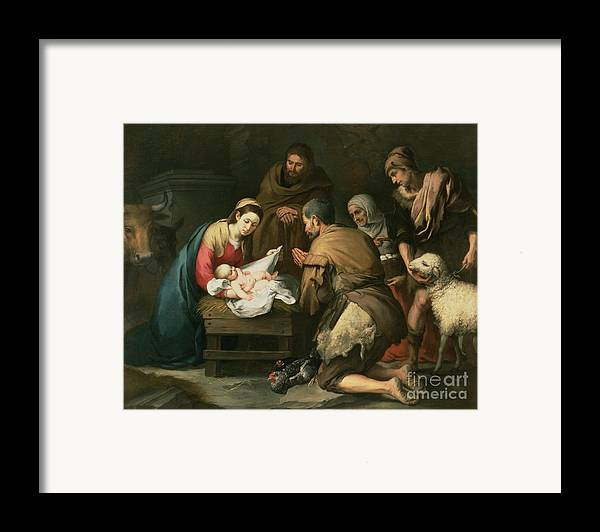 Adoration Framed Print featuring the painting The Adoration Of The Shepherds by Bartolome Esteban Murillo
