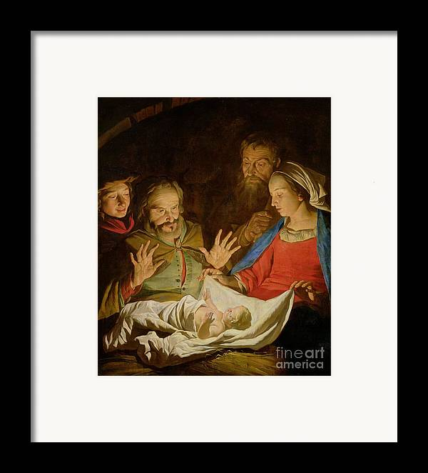 The Adoration Of The Shepherds (oil On Canvas) Framed Print featuring the painting The Adoration Of The Shepherds by Matthias Stomer