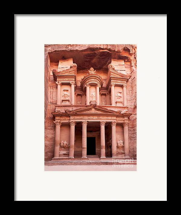 Red Framed Print featuring the photograph The Ancient Treasury Petra by Jane Rix