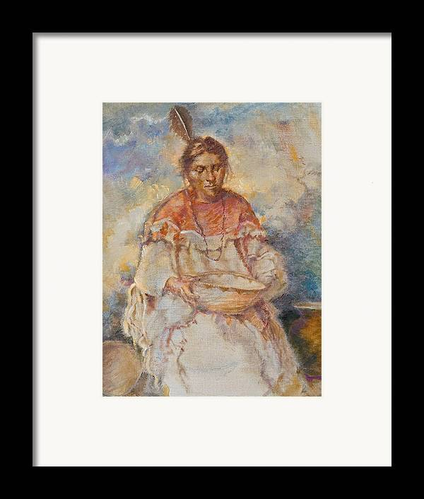 Native Americans Framed Print featuring the painting The Basket Maker by Ellen Dreibelbis