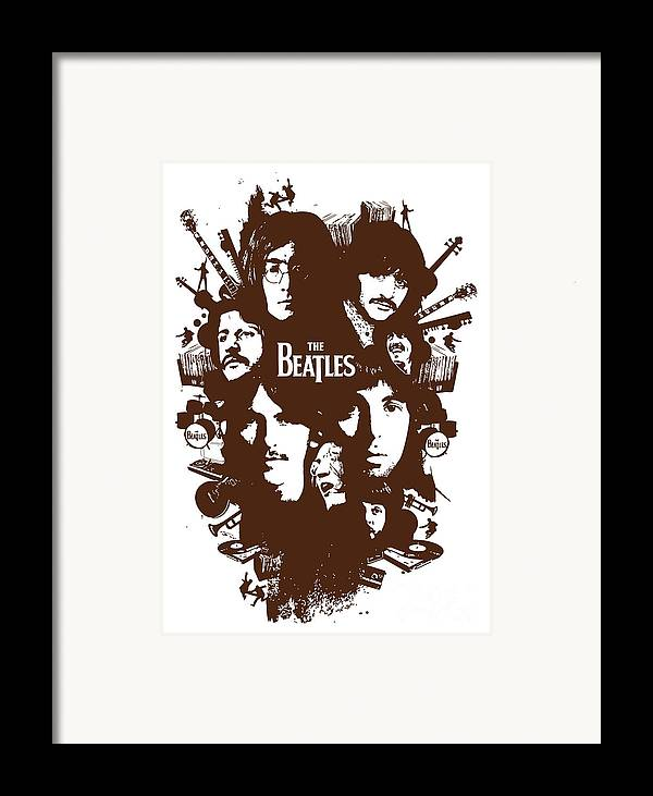 The Beatles Framed Print featuring the digital art The Beatles No.15 by Caio Caldas